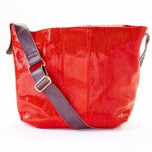 Charmés   Red Contrast-Strap Leather Crossbody Bag